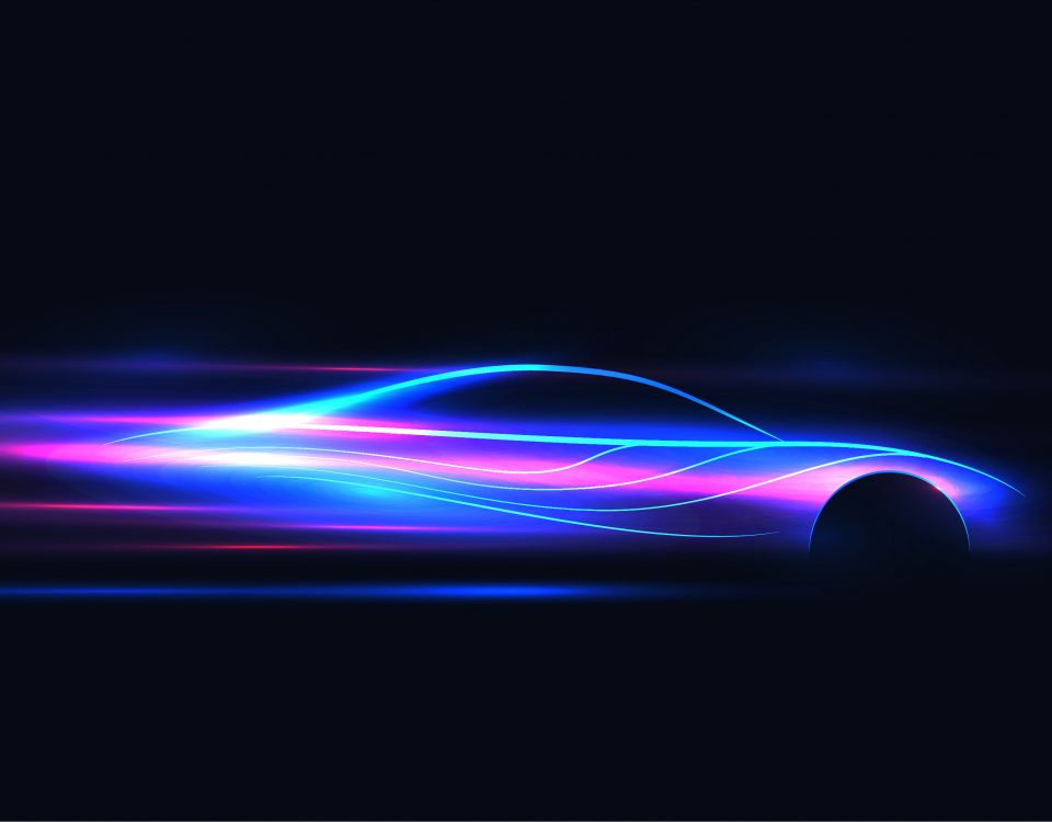 voiture néon futuriste avance